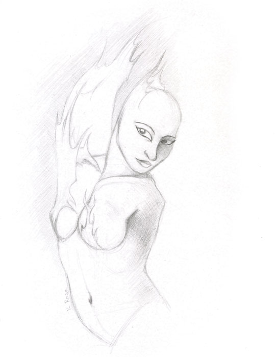 "Flame | © 2012 Keelan Rosa | Pencil, 8.4""x11"" 