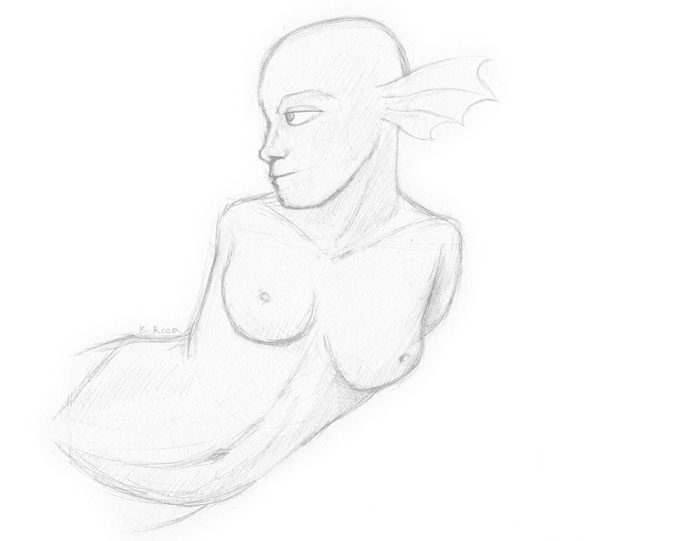 "Sea Elf | © 2012 Keelan Rosa | Pencil, 8.4""x11"" 
