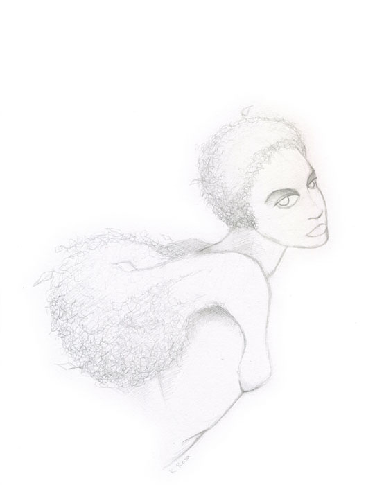 "Summer Nymph | © 2012 Keelan Rosa | Pencil, 8.4""x11"" 