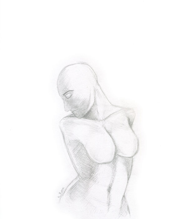 "Waxing Moon | © 2012 Keelan Rosa | Pencil, 8.4""x11"" 