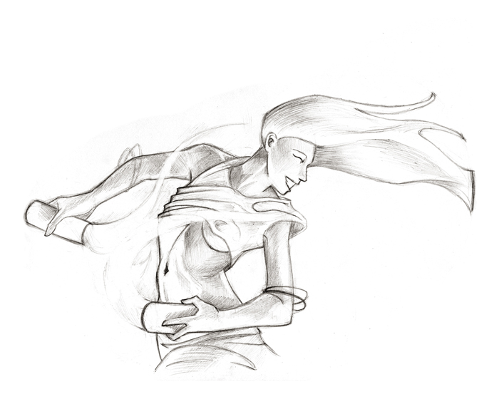 "Wind Dancer | © 2012 Keelan Rosa | Pencil, 8""x10"""