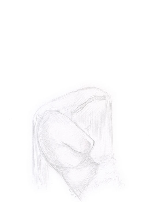 "Waterfall | © 2012 Keelan Rosa | Pencil, 8.4""x11"" 